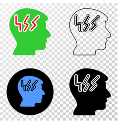 migraine head eps icon with contour version vector image