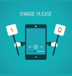 Mobile gadget need charge concept in flat style vector
