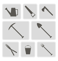 Monochrome icons with horticultural tools vector