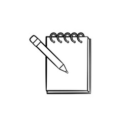 pencil and notepad with binders hand drawn icon vector image
