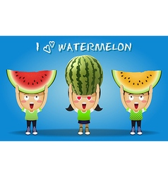 People carrying big red and yellow watermelons vector