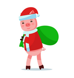 piggy in santa claus costume carries bag with gift vector image