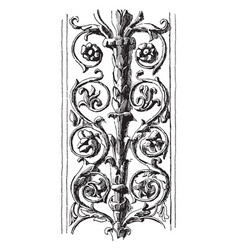 Pilaster fragment with double rinceau in palazzo vector