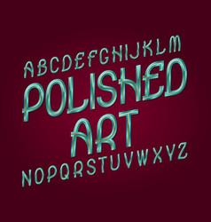 polished art typeface blue golden metallic font vector image
