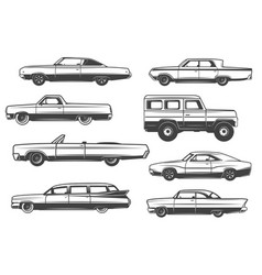 Retro cars and vintage rarity automobiles vector
