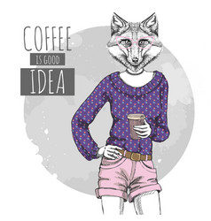 Retro hipster fashion animal fox with coffee vector