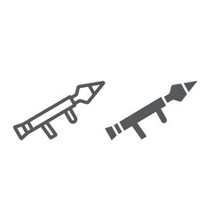 Rocket launcher line and glyph icon firearm and vector