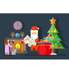 Santa gives gift to little girl near fireplace vector image