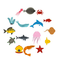 Sea animals icons set in flat style vector