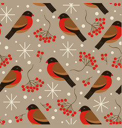 seamless brown pattern with bullfinches and rowan vector image