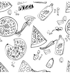 Seamless pattern with hand drawn pizza slices vector