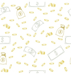 Seamless pattern with money hand sketched coins vector
