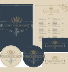 set of design elements for restaurant with crown vector image