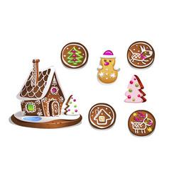 Set of various gingerbread figures cute hand vector