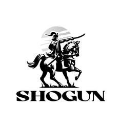 Shogun a japanese samurai vector