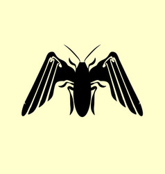 silhouette cartoon beetle insect flying around vector image