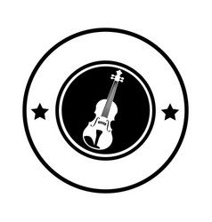 Silhouette circular border with acoustic guitar vector