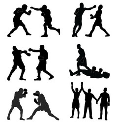 Silhouettes of boxers vector