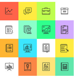 Simple business and finance cartoon style icon set vector