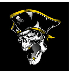 Skull pirate hand drawing vector