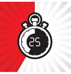 Stopwatch twenty five minute vector