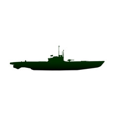 Submarine silhouette on white vector