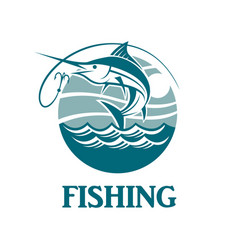 Swordfish fishing emblem vector