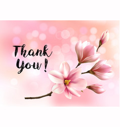 thank you background with beautiful blossom vector image