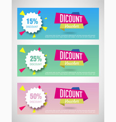 Three discount voucher vector