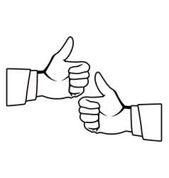 Two thumbs up hands black and white vector
