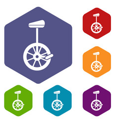 Unicycle icons set vector