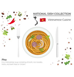 Vietnamese cuisine asian national dish collection vector