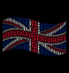 Waving great britain flag collage of fire torch vector
