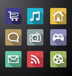 Web Icons Set in Flat Design with Long Shadows vector