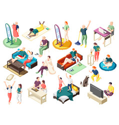weekend at home isometric icons vector image