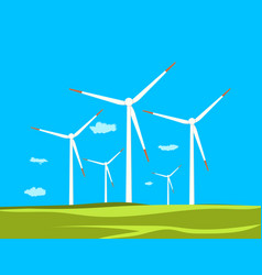 Windmills on green fields vector