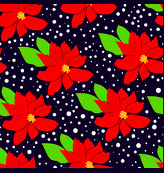 winter floral seasmless pattern with poinsettia vector image
