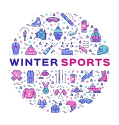 Winter sports infographics Color thin line icons vector