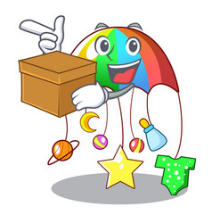 With box cartoon hanging toys with baby carousel vector