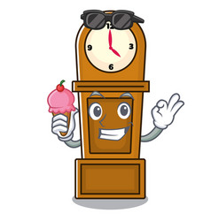 with ice cream grandfather clock character cartoon vector image