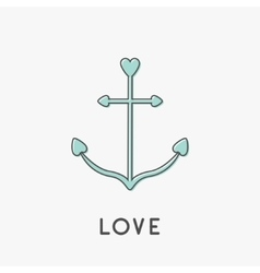 Anchor ship thin line icon in shapes of heart vector image
