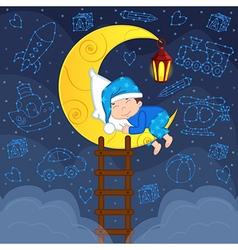 baby boy sleeping on moon among stars vector image