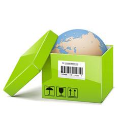 Globe in Green Box vector image vector image