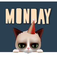 Monday morning with cute grumpy cat vector image vector image