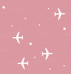 airplane path seamless pattern vector image vector image