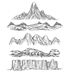 Hand drawn mountains and hills vector image