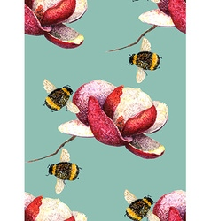 Magnolia and Bee blue green pattern vector image vector image