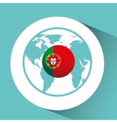 portugal flag pin map design vector image