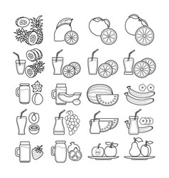 set of black and white fruit juice ic vector image vector image