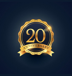 20th anniversary celebration badge label in vector image